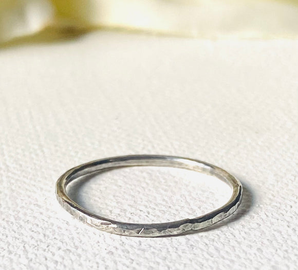 Hammered Silver Band Ring, Silver Texture Ring
