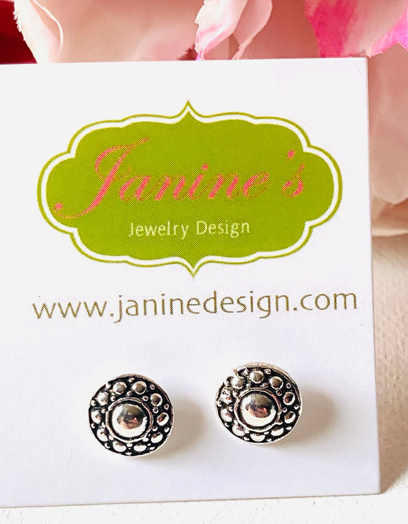 Bali Style Sterling Silver Studs, Silver Round Studs, Bali Design Silver Studs