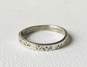 Ava Ring, the Ava Ring, Stamped Pattern Ring, Silver Band, Silver Stacking Ring