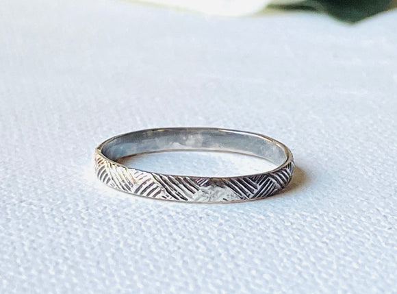 Line Pattern Ring, Stacking Ring, Textured Stacking Ring