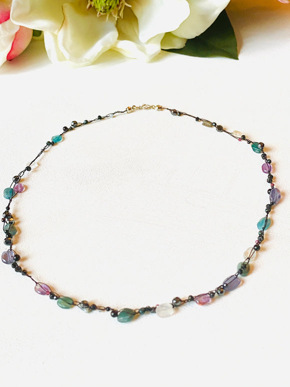 Crocheted Gemstone Necklace, Crocheted Gemstone Silk Necklace