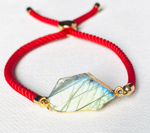 Labradorite Adjustable Red Cord Bracelet
