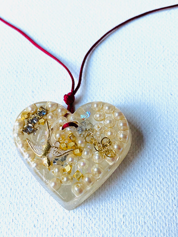 Heart Necklace, Resin Collage Necklace, Pearl Resin Necklace