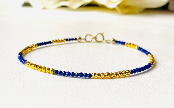 Blue Gold Dainty Bracelet/Gold Coated Hematite and Lapis Lazuli Gemstone Bracelet