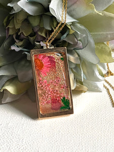 Coral Glitter Resin Necklace