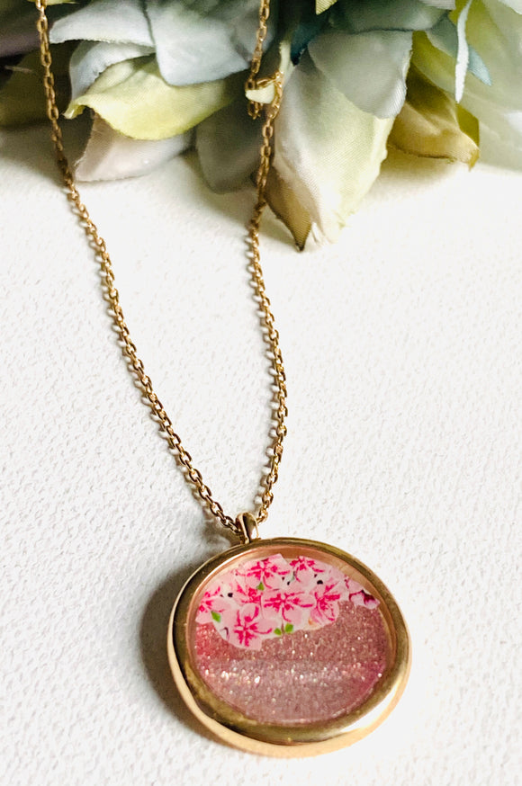 Coral and a Flower Glitter Resin Necklace