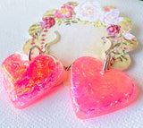 Resin Collection-Hearts in Pink/ Pink Heart Resin Earrings