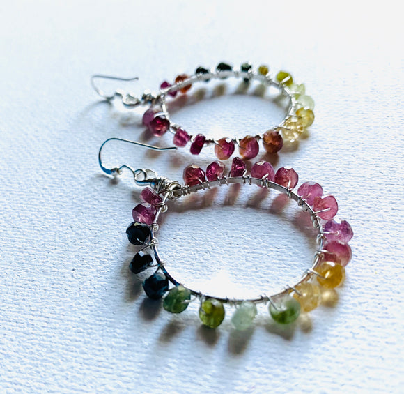 Watermelon tourmaline Hoop Earrings, Tourmaline Earrings, Circle Earrings, Gemstone Hoop Earrings