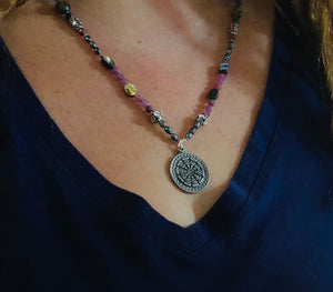 Long Hand Knotted Gemstone Necklace With Dharma Wheel Pendant