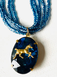 Blue Beaded Horse Necklace, Horse Necklace, Seed Bead Necklace