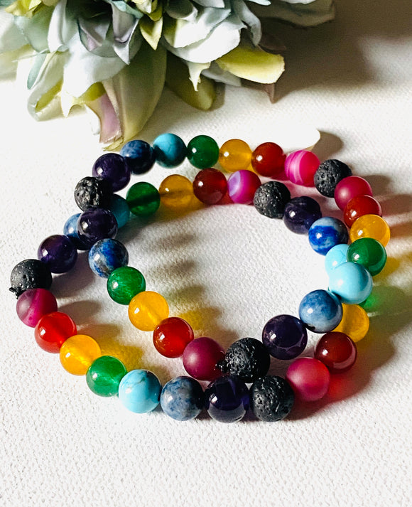 Gemstone Chakra Stretch Bracelets with Lava Essential Oil Stone