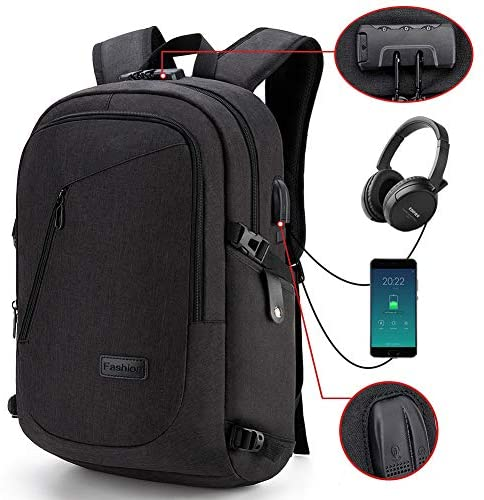 LAPTOP BACKPACK, ANTI-THEFT LOCK, USB CHARGING PORT AND HEADPHONE JACK / MOCHILA PARA LAPTOP, ANTIRROBO