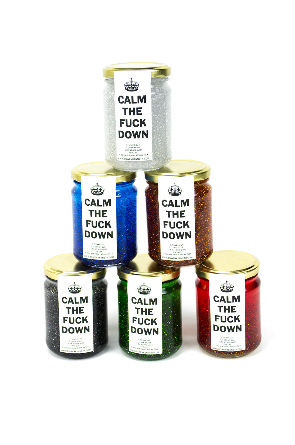 """Calm the Fuck Down"" Glitter Jars"