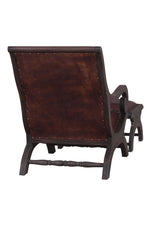 Louis Leather Mahogany Chair and Stool