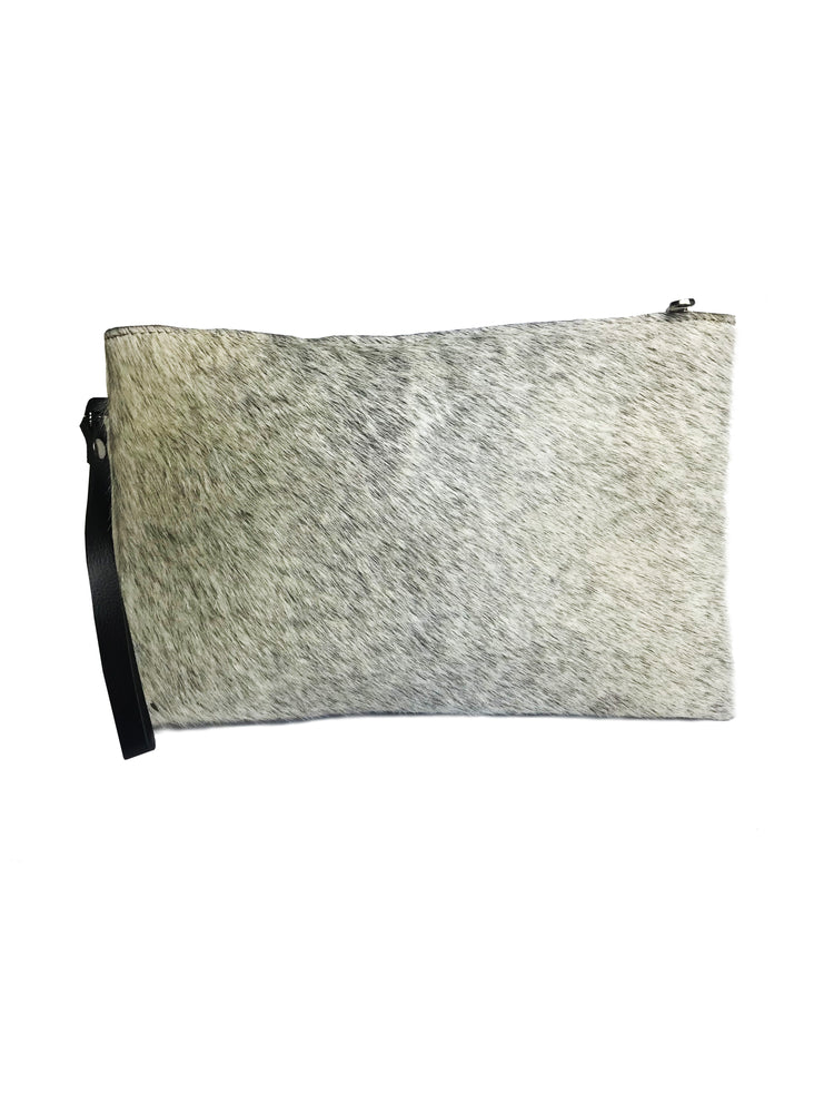 Cow Hide Clutch White