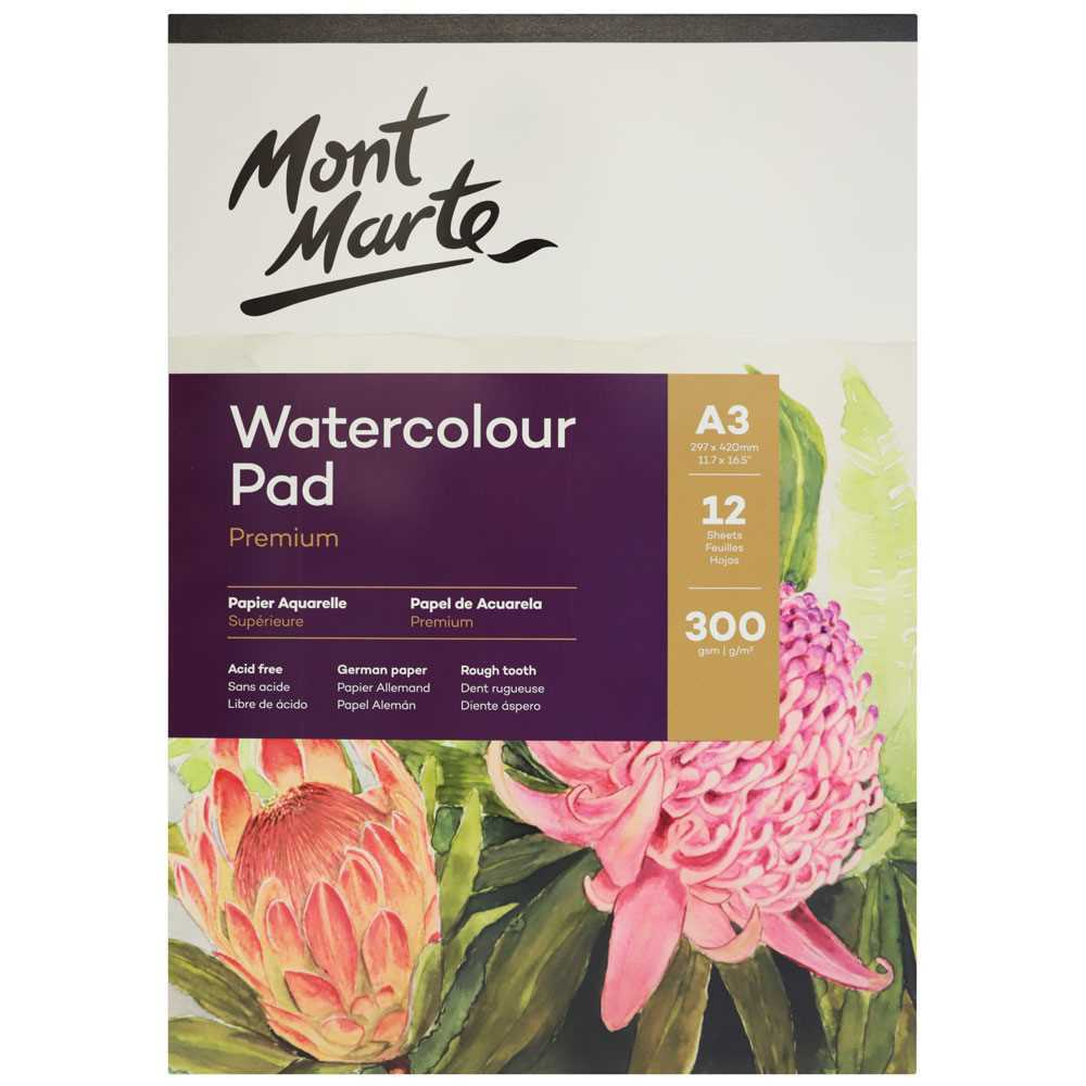 Mont Marte Watercolour Pad A4 12 sheets 300gsm - STEAM Kids Brisbane
