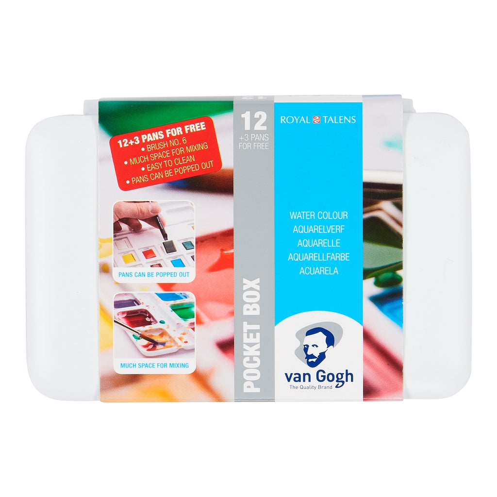 Van Gogh Watercolour Plastic 12 (+3 Free) Half Pan Set - STEAM Kids Brisbane