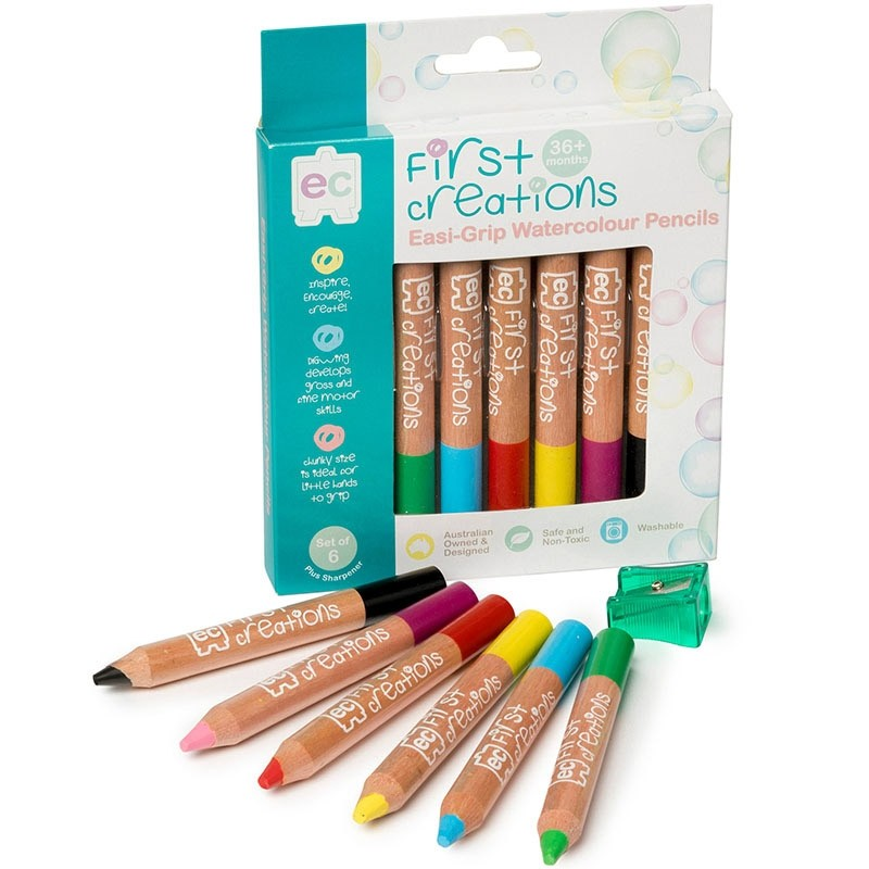 EC First Creations Easi-Grip Watercolour Pencil  Set of 6 - STEAM Kids Brisbane