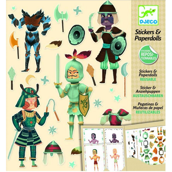 Djeco Paper Dolls and Stickers Knights - STEAM Kids Brisbane