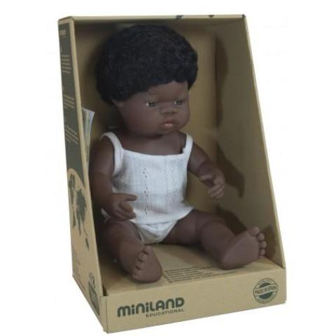 Miniland Doll Anatomically Correct Baby, African Boy, 38 cm - STEAM Kids Brisbane