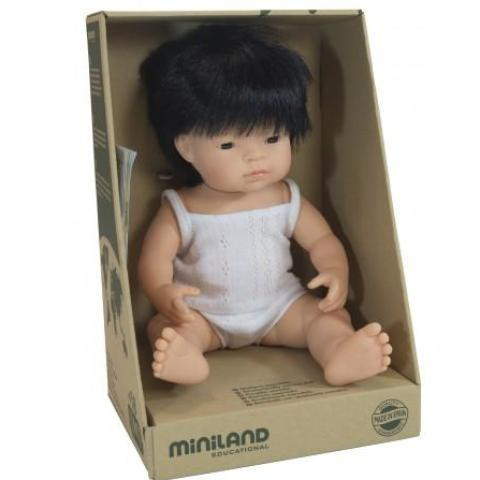 Miniland Doll Anatomically Correct Baby, Asian Boy, 38 cm - STEAM Kids Brisbane