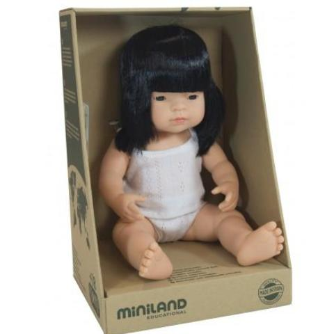 Miniland 38cm Anatomically Correct Baby Doll Asian Girl - STEAM Kids Brisbane