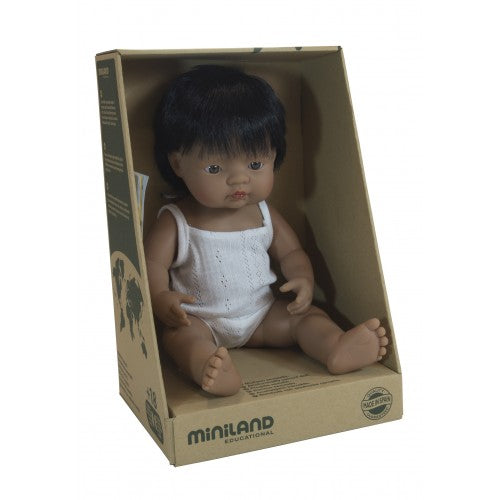 Miniland 38cm Anatomically Correct Latin American Baby Boy Doll - STEAM Kids Brisbane