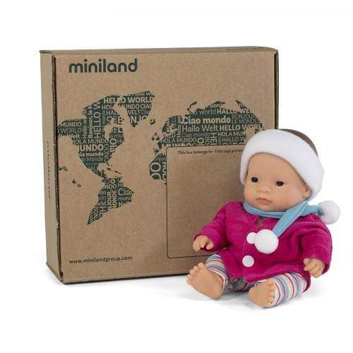 Miniland Doll - Anatomically Correct Baby, Asian Girl and Outfit Boxed, 21 cm - STEAM Kids Brisbane