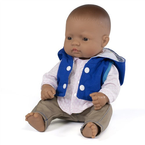 Miniland Doll - Anatomically Correct doll 32cm, Latin American Boy with Outfit in Box - STEAM Kids Brisbane