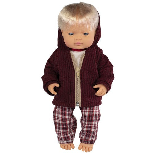 Miniland Doll - Anatomically Correct doll 38cm, Caucasian Boy with Outfit in Box - STEAM Kids Brisbane