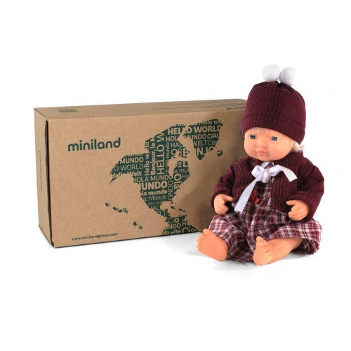 Miniland Doll - Anatomically Correct doll 38cm, Caucasian Girl with Outfit in Box - STEAM Kids Brisbane