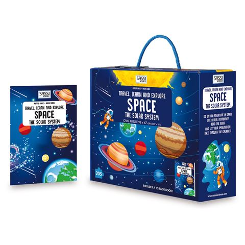 Sassi Travel, Learn and Explore Space | Book and 200 Piece Puzzle - STEAM Kids Brisbane