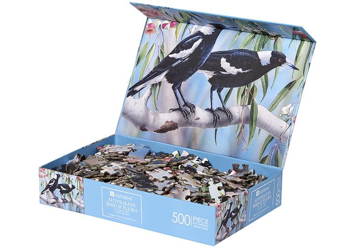 Australian Bird & Flora Magpie 500 Piece Puzzle | Ashdene Eco Puzzle - STEAM Kids Brisbane