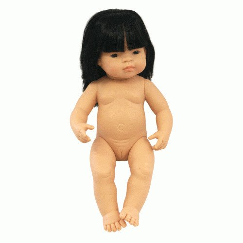 Miniland Doll - Anatomically Correct doll 38cm, Asian Girl with Outfit in Box - STEAM Kids Brisbane