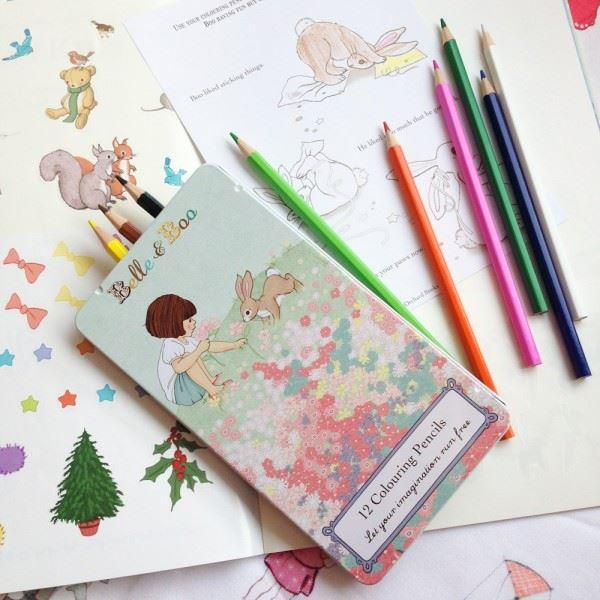 Belle & Boo Pencil Tin with 12 Coloured Pencils - STEAM Kids Brisbane