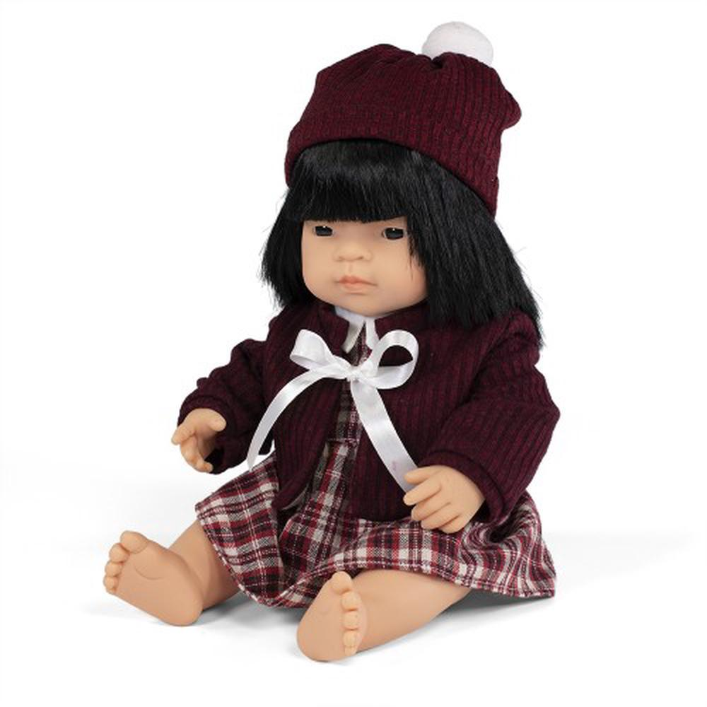 Miniland - Anatomically Correct doll 38cm, Asian Girl with Outfit in Box - STEAM Kids Brisbane