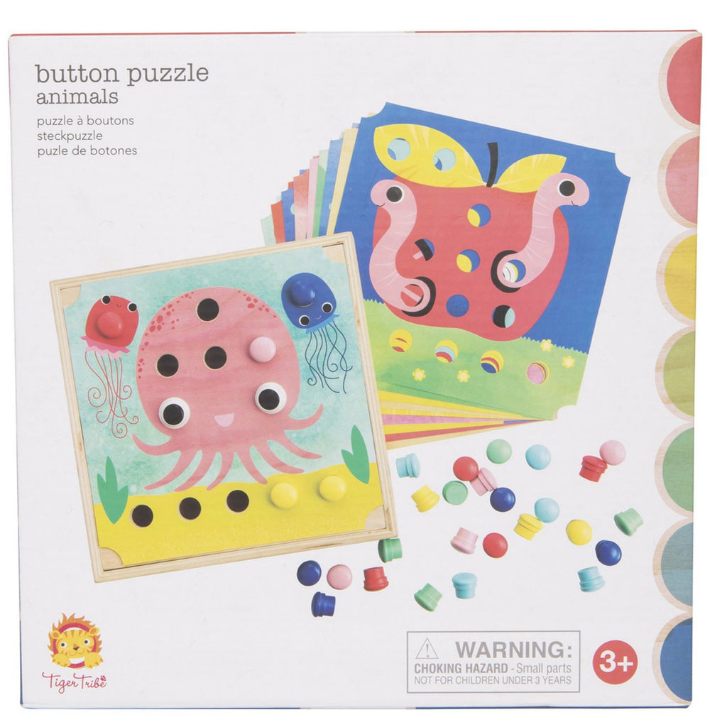 Tiger Tribe Animals Button Puzzle - STEAM Kids Brisbane