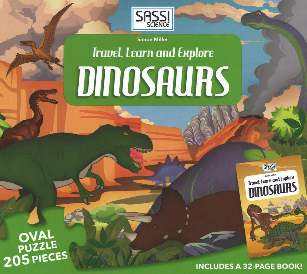 Sassi Travel, Learn and Explore Dinosaurs 205 piece - STEAM Kids Brisbane