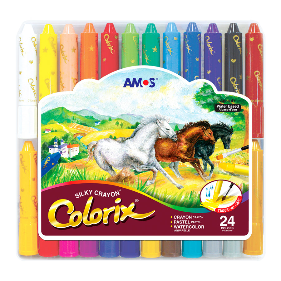 Colorix Silky Crayon - 24 Pack in Plastic Case - STEAM Kids Brisbane