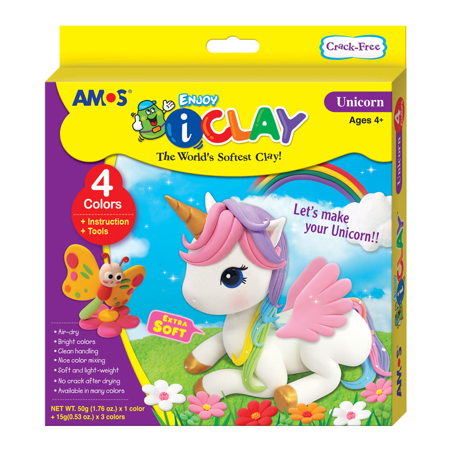iClay Modelling 4 Colour Unicorn | Amos | - STEAM Kids
