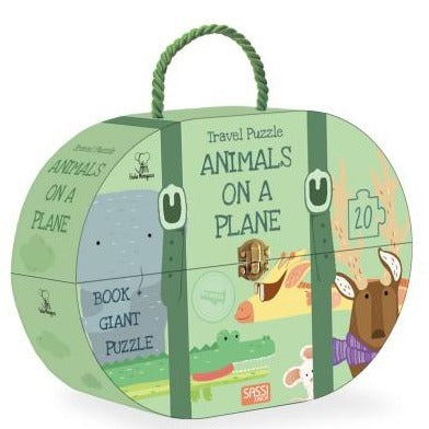 Sassi Animals on a plane - 20 Piece Puzzle & Book - STEAM Kids Brisbane
