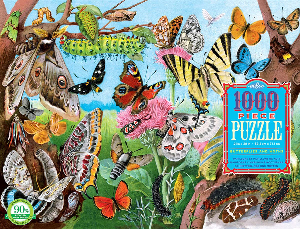 eeBoo Butterflies and Moths 1000 Piece Rectangle Puzzle - STEAM Kids Brisbane