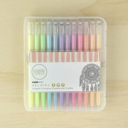 Kaisercraft Gel Pen Box of 24 | Pastel & Glitter Colours | - STEAM Kids Brisbane