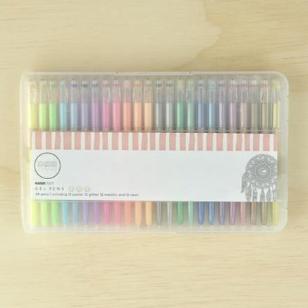 Kaisercraft Gel Pen Box of 48 | Pastel, Glitter, Neon & Metallic Colours | - STEAM Kids Brisbane