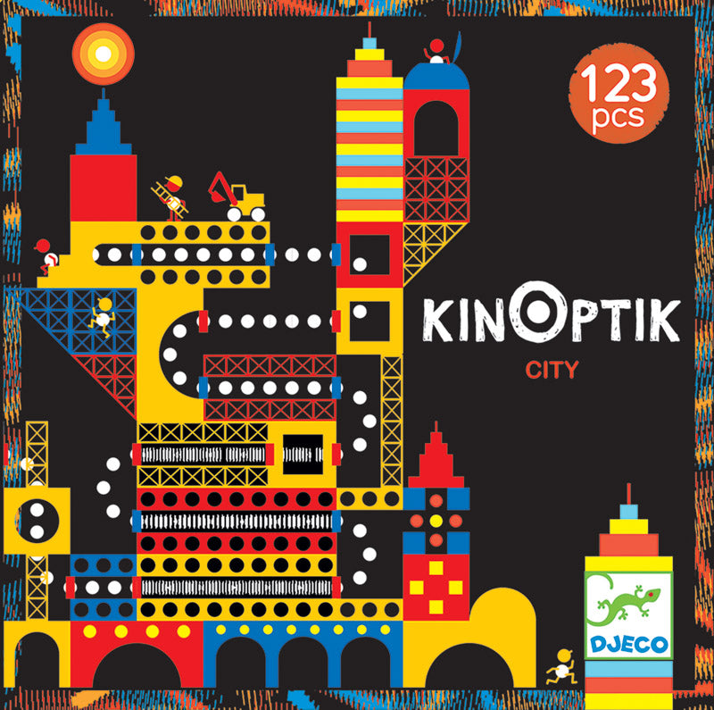Crazy City Kinoptik Construction Set| Illusion Puzzle by Djeco - STEAM Kids Brisbane