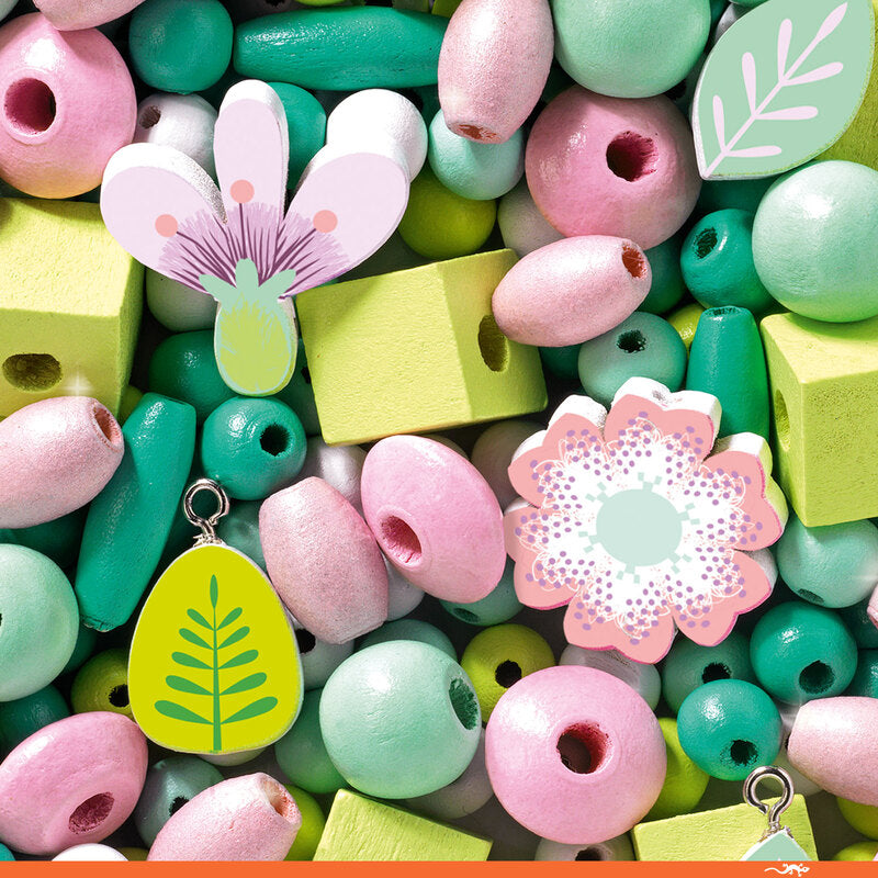 Djeco Wooden Beads I Leaves and Flowers - STEAM Kids Brisbane