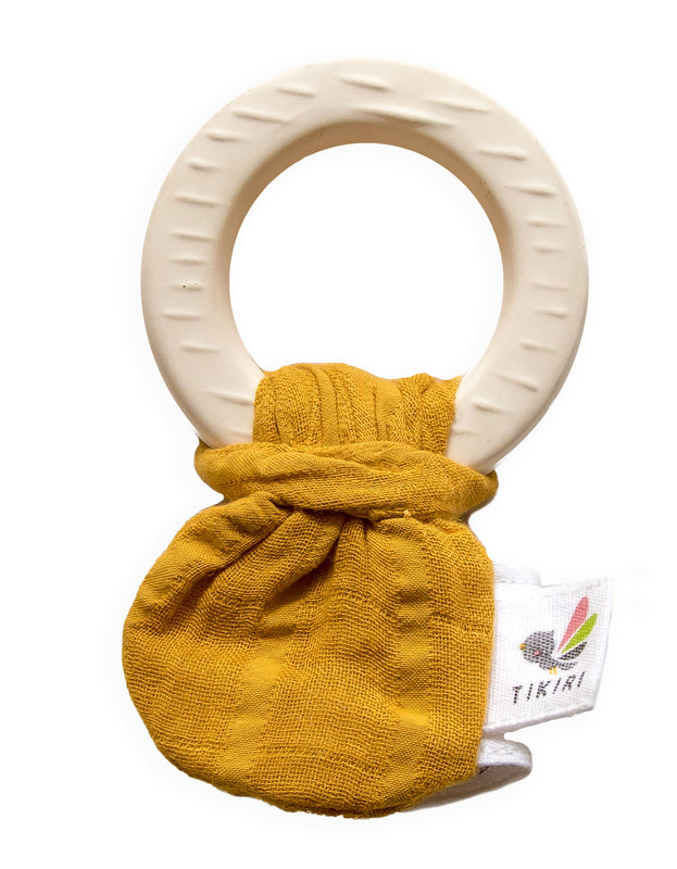 Natural Rubber Teether with a Mustard Muslin Tie | Tikiri | - STEAM Kids