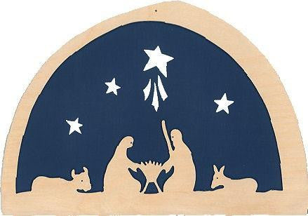 De Noest Silhouette Plate: Nativity Dark Blue - STEAM Kids Brisbane