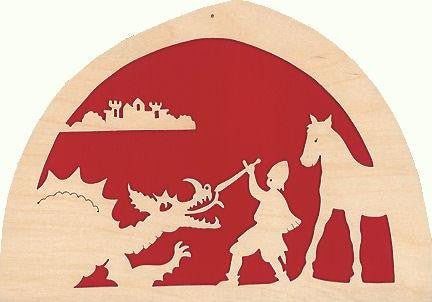 De Noest Silhouette Plate: Knight & Dragon Red - STEAM Kids Brisbane