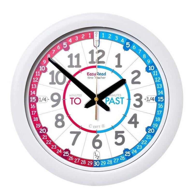 EasyRead Time Teacher Wall Clock Red and Blue - STEAM Kids Brisbane